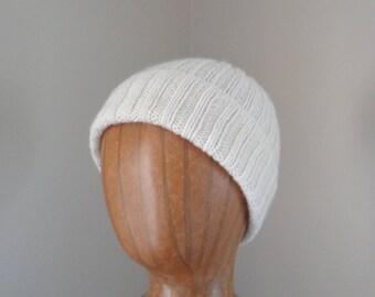 Women's Cashmere Hat, Ivory White, Hand Knit Beanie Hat, Luxury Knit Cap, Chic Winter Fashion