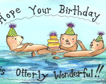 Otter Card-Otter Birthday Card-Otters-Watercolour Animal Card-Watercolour Birthday Card-Ocean Card-Animal Card-Watercolour Card