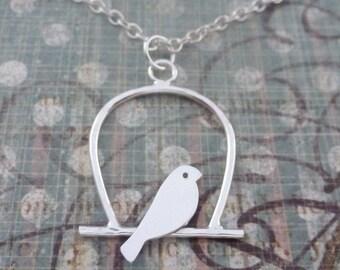 Silver Birdcage Necklace - Solid Sterling 925 Handmade Lovebird Bird Necklace Pendant Bridesmaid Gift