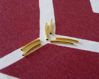 Gold Tube Beads, Gold Plated Curved Tube Elbow Noodle Beads, Spacer Beads, Spacer Bars, Curved Spacer Beads, Beading Supplies