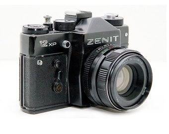 Zenit 12XP Russian Vintage camera + Helios 44M-4 58mm F2 Lens in leather case