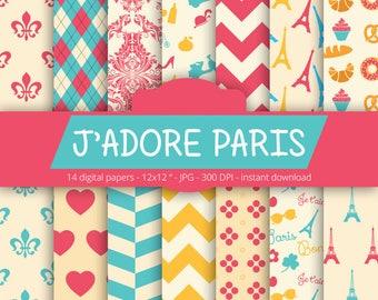 Paris Digital Paper - J'ADORE PARIS - with paris france element, eiffel tower, chevron, fleur de lis, damask pattern for Scrapbooking