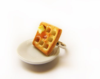 Buttery Syrup Waffle Ring - Miniature Food Jewelry - Polymer Clay Waffle Jewelry
