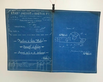 French industrial engineering blueprint, no. 2080 circa 1930s. Wonderful dark teal colour. Size: 430 x 280 mm.
