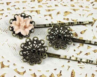 10Pcs Wholesale Antique Brass Filigree Hair  pins Clip Setting NICKEL FREE(PINSS -1)
