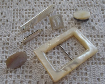 Vintage Mother of Pearl Clip & Brooches 6 Pieces