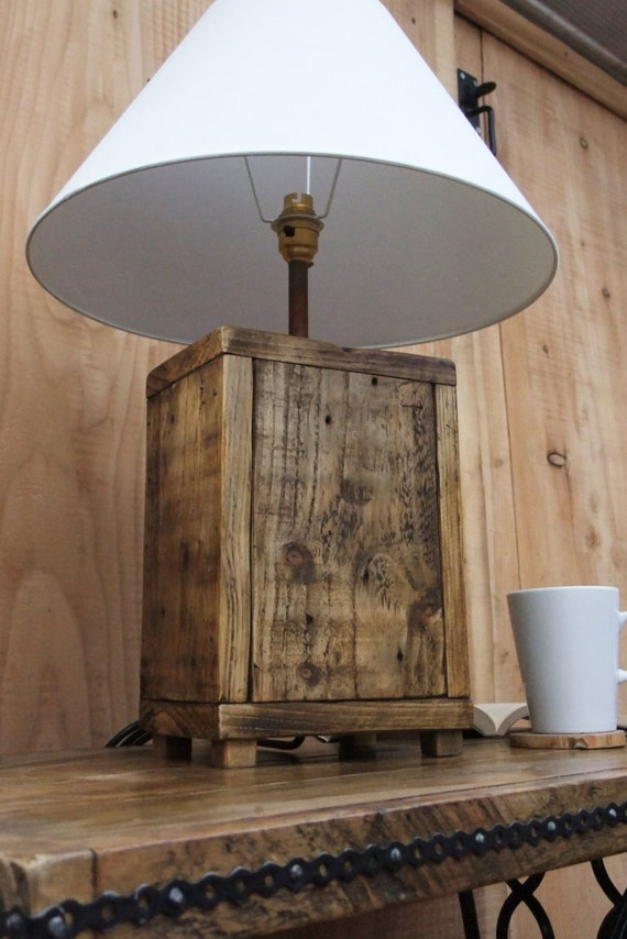 Rustic Wood Lamp Base Made From Reclaimed Pallet Wood