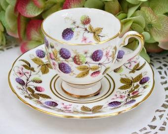 English Demitasse Cup and Saucer Set, Royal Stafford Fine China, Golden Bramble Pattern, English Bone China, c1950s, Vintage Tea Party