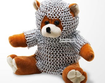 Medieval Plush Bear With Chainmail Armor