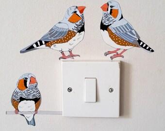 Zebra Finch Light Switch Decal, Bird Wall Sticker, Australian Bird Decal