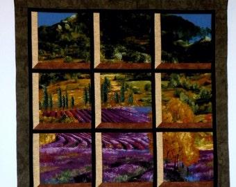 Fabric Wall Hanging - Attic Window of a Valley Grape Field Scene