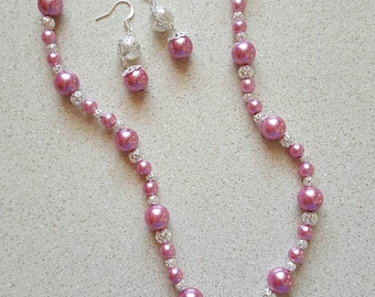 Silver and Pink Pearl Necklace and Earrings Set ***FREE SHIPPING***