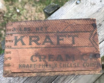 Vintage Kraft Cream Cheese Relish Wooden Box 3 lb