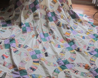 Gorgeous Vintage Double Wedding Ring Quilt TOP 82X82""