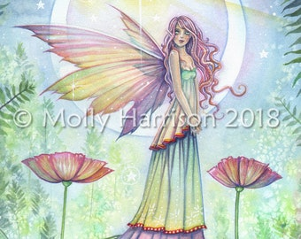 Fairy Watercolor Painting - Wishing Star - Original Watercolor and Mixed Media Painting by Molly Harrison Fantasy Art - fairy art, fairies