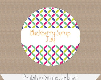 Printable and Editable Canning Jar Labels, 2 inch, Fun Ovals, multicolored