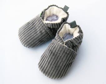 Classic Vegan Cozy Corduroy in Grey / All Fabric Soft Sole Baby Shoes / Made to Order / Babies