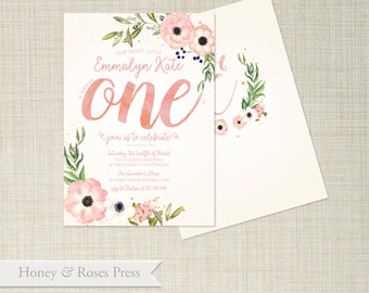 First Birthday Invite . Pink and Gold . Shabby Chic . Floral Birthday . Printable Invitation . Birthday Invite . Printable Invitation