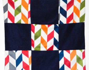 Gender neutral geometric style fleece baby quilt, car seat or lap blanket