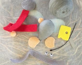 One DIY Kit / Christmas Mouse / Spun Cotton Head and Spun Cotton Body Parts / Felt / Czech Republic