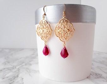 Gold Bohemian Earrings, Chandelier Earrings for Women, Swarovski Gold Earrings, Large Gold Statement Earrings, Gypsy Earrings, Boho Earrings