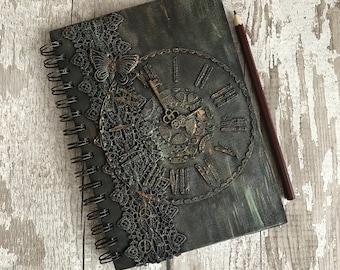 A5 notebook, Steampunk notebook, A5 journal, Steampunk journal, Steampunk butterfly notebook, Steampunk clock notebook, Mixed media notebook