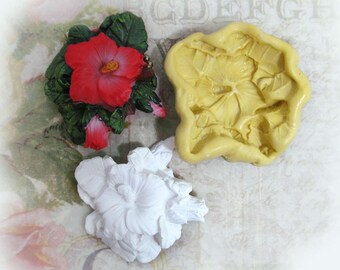 Hibiscus mold,flower mold, Silicone mold,push mold, food supplies mold, clay supplies molds, # 28 s