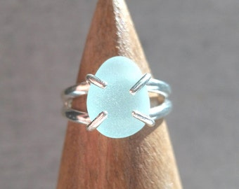 Blue Sea Foam// Size 5// Sea Glass Ring// Beach Jewelry// Ocean Lover Gift// Minimalist Ring// Beach Ring// Sterling Silver// Ocean Tumbled