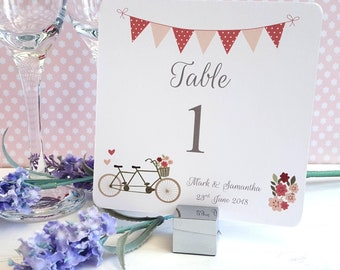 Personalised Wedding Table Numbers - Table Names - Vintage Tandem Bike / Bicycle - Shabby Chic Design - Table Decoration