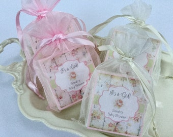 Shabby chic shower favors, bridal shower, baby shower, wedding, farmhouse country, soap favors, set of 10