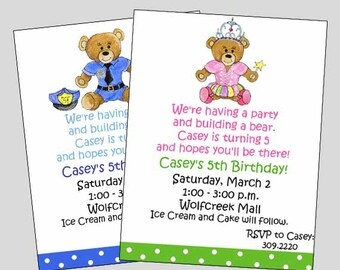 Build a bear invite etsy build a bear birthday invitation build a bear party boy or girl filmwisefo Images