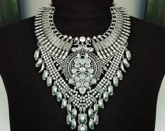 Dylanlex Silver Statement Necklace Punk Rock Heavy Metal Boho Bib Necklace Crystals Spikes Ethnic Bridal Vintage Jewelry Layered Geometric