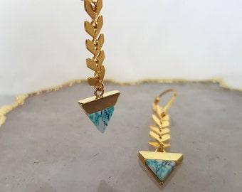 Triangle Drop Earrings - Gold Geometric Earrings, Long Earrings, Triangle Earrings, Dangle Earrings, Tiny Triangle, Gold Earrings