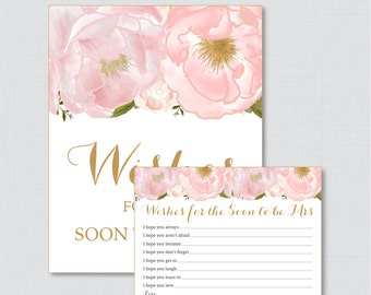 Wishes for the Soon to Be Mrs - Printable Pink Floral Bridal Shower Wishes for the Bride to Be - Blush Pink and Gold Bridal Shower - 0007