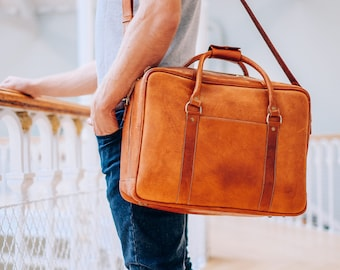 Leather Briefcase, Soft Business Bag, Cognac Laptop Bag, Leather Satchel, Messenger Bag, Small Duffle, 15 inch Mac, Full Grain Leather