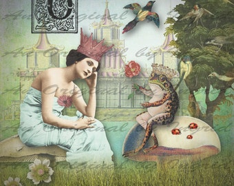 Once Upon a Time Digital Collage Greeting Card (Suitable for Framing)