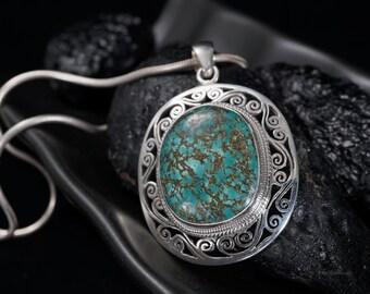 Natural Tibetan Blue Green Turquoise Sterling silver pendant necklace Spiderweb Freeform Filigree Unique for men & women December birthstone