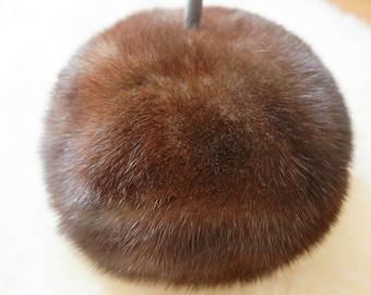 """40's Acorn Shaped Mink Fur Hat / Vintage Lord & Taylor Mink Fur Hat / 24"""" hat"""
