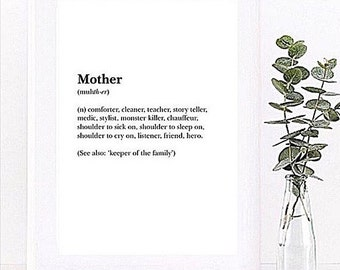 Dictionary definition style print - father / mother / Family Minimalist print