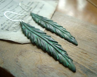 Large Patina Feather Earrings Native American Statement Earrings Nature Inspired Brass Jewelry Gifts Under 40