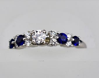 Diamond and Sapphire 14K White Gold Engagement Ring, size 8.25