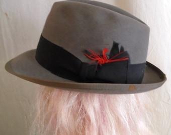 Vintage 1950s Fedora Mans Hat Grey Medium Brim Courtney Gangster