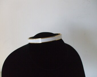 White Enamel,  Gold Tone Bangle  - Vintage -  Gifts - #689