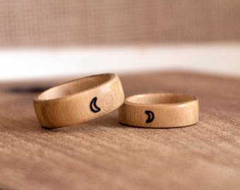 Crescent Moon Ring, Tiny Moon Ring, Wooden Ring, Wood Ring, Wood Burned Ring, Moon Phase Ring, Moon and Stars Ring, Wood Jewelry, Pyrography