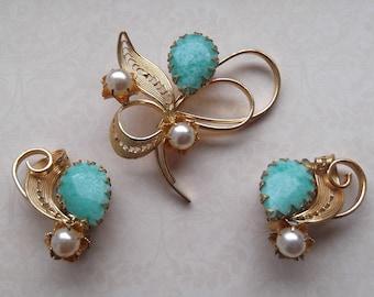 1950s Vintage West Germany Earrings and Brooch