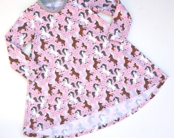 Long Sleeve Pony Dress - Toddlers Clothes, Dress, Pony Girls Dress, Girls Pony Dress, Horse
