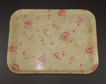 Vintage Pink Roses Decor Resin french Tray, Mid - Century Fiberglass Romantic Decorative Serving Tray large novel Made in France France