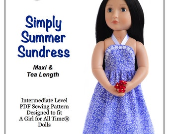 Pixie Faire Love U Bunches Simply Summer Sundress Doll Clothes Pattern for 16 inch A Girl For All Time Dolls - PDF