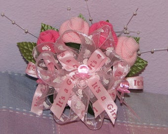 Baby Sock Corsages - Baby Shower Corsages -Mommy To Be Corsages, Grandparent Sock Corsage, Baby Shower Sock Corsage
