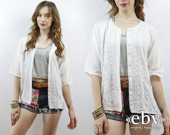 White Gauze Top Hippie Top Hippie Tunic Boho Tunic Boho Top Festival Tunic Festival Top Hippy Top Summer Top Embroidered Top 90s Top S M L
